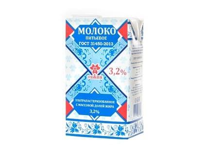 Молоко Тяжин  3,2% (упаковка 1л.)